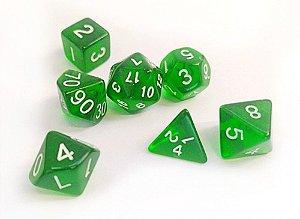 Dados para RPG Translucido - Verde - Conjunto com 7 peças