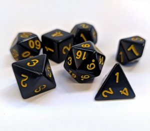 Dados para RPG Linha Black - Amarelo - Conjunto com 7 peças