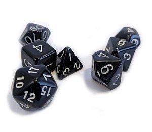 Dados para RPG Linha Black - Branco - Conjunto com 7 peças