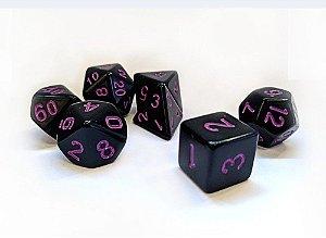 Dados para RPG Linha Black - Roxo - Conjunto com 7 peças