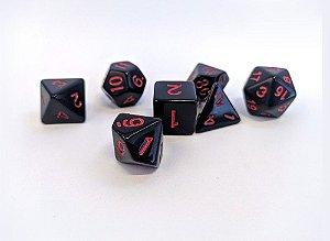 Dados para RPG Linha Black - Vermelho - Conjunto com 7 peças