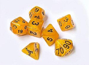 Dados para RPG Linha Glitter - Amarelo - Conjunto com 7 peças
