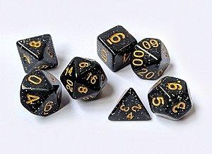 Dados para RPG Linha Glitter - Preto - Conjunto com 7 peças