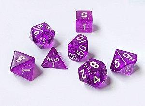 Dados para RPG Linha Glitter - Roxo - Conjunto com 7 peças