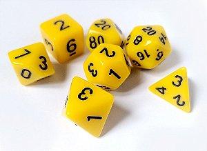 Dados para RPG Linha Solid Color - Amarelo - Conjunto com 7 peças