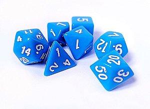 Dados para RPG Linha Solid Color - Azul - Conjunto com 7 peças