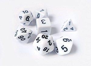 Dados para RPG Linha Solid Color - Branco - Conjunto com 7 peças