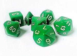 Dados para RPG Linha Solid Color - Verde - Conjunto com 7 peças
