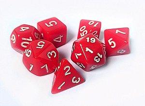 Dados para RPG Linha Solid Color - Vermelho - Conjunto com 7 peças