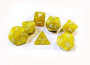 Dados para RPG Linha Marmorizados - Amarelo - Conjunto com 7 peças