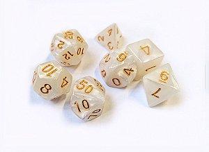 Dados para RPG Linha Marmorizados - Branco - Conjunto com 7 peças