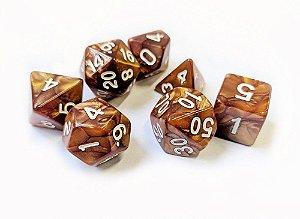 Dados para RPG Linha Marmorizados - Marrom - Conjunto com 7 peças