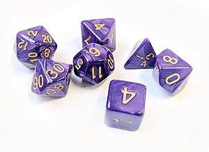 Dados para RPG Linha Marmorizados - Roxo - Conjunto com 7 peças