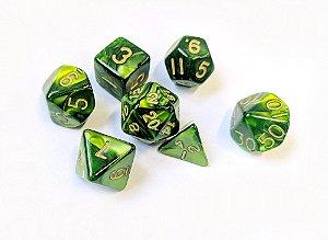 Dados para RPG Linha Marmorizados - Verde Militar- Conjunto com 7 peças