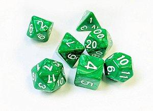 Dados para RPG Linha Marmorizados - Verde- Conjunto com 7 peças