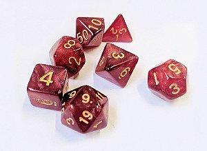 Dados para RPG Linha Marmorizado Brilhante - Vermelho Escuro- Conjunto com 7 peças