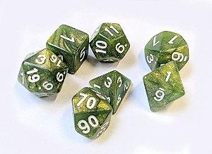 Dados para RPG Linha Marmorizado Brilhante - Verde Escuro- Conjunto com 7 peças