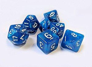 Dados para RPG Linha Marmorizado Brilhante - Azul - Conjunto com 7 peças