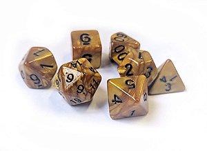 Dados para RPG Linha Marmorizados - Dourado - Conjunto com 7 peças