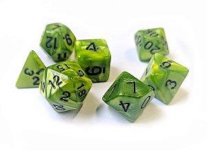 Dados para RPG Linha Marmorizados - Verde Claro - Conjunto com 7 peças