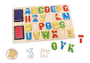 Tabuleiro de carimbos para encaixe - Alfabeto