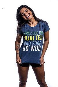 BabyLook T-Shirt Casal Wod Crossfit - FILHO DO WOD (Azul)