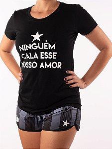 Camisa Baby look Casal Wod Crossfit - Niguém cala esse nosso amor (Preta)