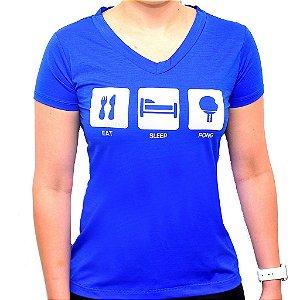 Camiseta Eat Sleep Pong Poliamida Feminina
