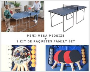 Mesa Midsize Joola + 1 Conjunto de raquetes de tênis de mesa Family Set (maleta com 4 raquetes e 10 bolas)
