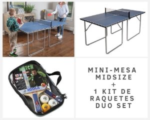 Mesa Midsize Joola + 1 Conjunto de raquetes de tênis de mesa Duo Set (2 raquetes e 3 bolas)