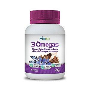3 Ômegas - Óleo de Linhaça, Óleo de Peixe e Óleo de Borragem em cápsulas - Vitafrux - 30 caps