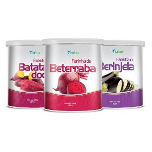 Combo 3 potes - 1 Farinha de Batata-Doce - 1 Farinha de Berinjela - 1 Farinha de Beterraba - Vitafrux - Pote - 100g