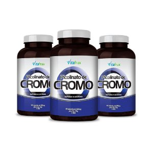Combo 3 potes - Picolinato de Cromo em cápsulas - Vitafrux - 60 caps
