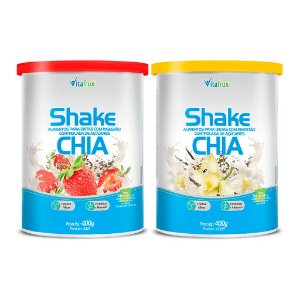 Combo 2 potes - 1 Shake Chia sabor Morango e 1 Shake Chia sabor Baunilha - Vitafrux - 400g