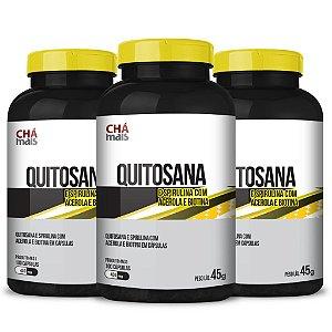 Combo3 potes - Quitosana, Spirulina, Acerola e Biotina em cápsulas - CháMais -  100 caps