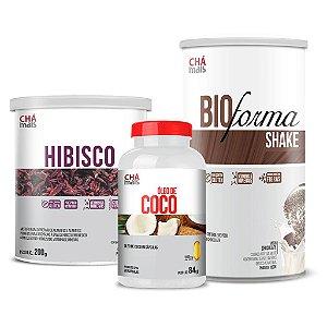 Combo - Solúvel de Hibisco, Óleo de Coco em cápsulas e Shake Bio Forma