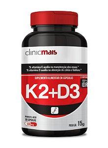 Vitamina K2+D3 - Suplemento alimentar em cápsulas - 30 caps - 15g - ClinicMais