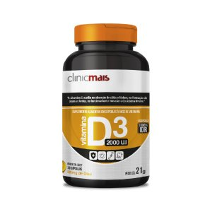 Vitamina D3 2000 UI - Suplemento alimentar em cápsulas - 30 caps - 21g - ClinicMais