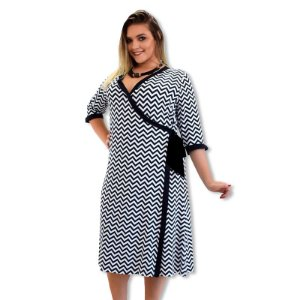 Vestido Transpassado (Cachecouer) Plus Size - Preto/Branco