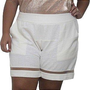 Short de Linho com Tulê Plus Size