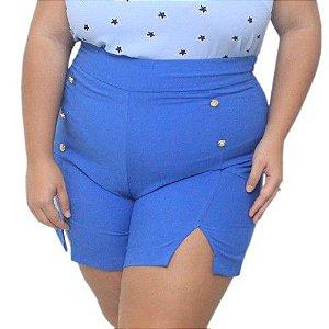 Short Plus Size Azul Royal Com Botão