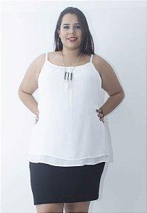 Regata Chiffon Plus Size - Branca