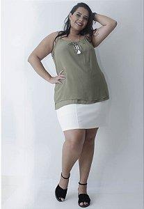 Regata Chiffon Plus Size - Verde Oliva