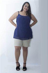 Regata Chiffon Plus Size - Azul Marinho