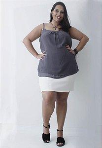 Regata Chiffon Plus Size - Cinza