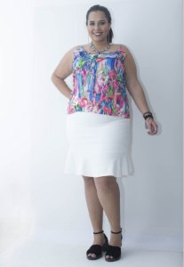 Regata Estampada Plus Size - Azul