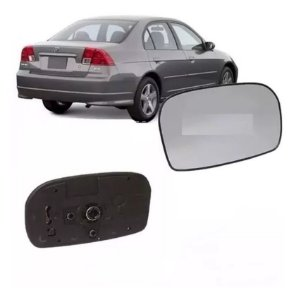 Lente Retrovisor com Base Civic Prata  (2001/2006) - METAGAL