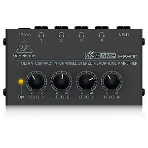 Amplificador de Fones de Ouvido PowerPlay Behringer HA400 c/ 4 canais Bivolt