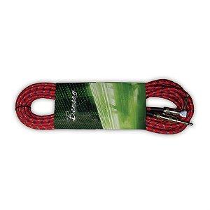 """Cabo para Instrumentos Benson GC056R 6m de nylon vermelho com ponta """"L"""" de 120 Ohms duplamente blindado"""