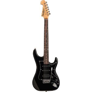 Guitarra Washburn S2HMB preta em Alder com headstock invertido e captacao H/S/S